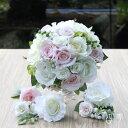 ウェディングブーケ ホワイト&ピンク 愛らしいローズ バラ ヘッドドレス付き ウェディング 結婚式 海外挙式 前撮り【…