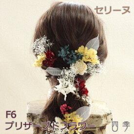 プリザーブドフラワー 髪飾り セリーヌ F6 ヘッドドレス かすみ草 成人式 卒業式 ドライフラワー【送料無料】H_0378f