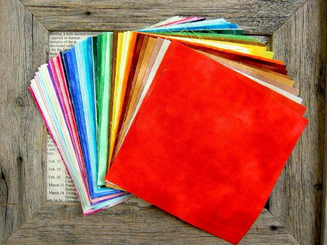 ☆ パッチワーク ☆65色すべてがわかるカットクロスセットむら染めパレットむら染め15×15cmカット