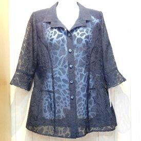 春、夏、秋、麻混、単品、上衣、ブラックフォーマル七分袖ブラウス 折柄入り。