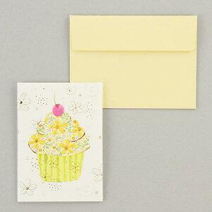 【メッセージカード】カップケーキ 多目的ミニメッセージカード 無地封筒付き