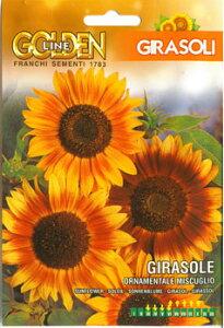 【イタリアの草花の種】ヒマワリ・ORNAMENTALE MISCUGLIO[329/1]花びらに赤銅色の覆輪が入った装飾性のあるゴージャスなひまわりです。向日葵の種