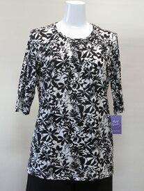 レディース 春物 五分袖 Tシャツ 花柄 Mサイズ 40代 50代 60代 ミセスファッション