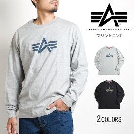 【セール20%OFF】ALPHA アルファ ロゴプリント スラブ 長袖Tシャツ (TC1241) Tシャツ 長袖 ロンT メンズ カジュアル アメカジ ブランド