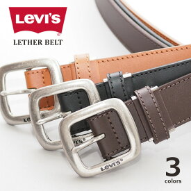 LEVIS Levi's リーバイス レザーベルト 牛革 ステッチ (15116021) ベルト 本革 べると 黒茶 フリーサイズ メンズ レディース ユニセックス カジュアル アメカジ ブランド りーばいす あす楽