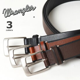 WRANGLER ラングラー ソフトレザーベルト 本革 日本製 無地 (WR3072) 本革ベルト 牛革 黒茶 3.5cm メンズ 紳士 カジュアル アメカジ ブランド 父の日ギフト
