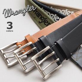 WRANGLER ラングラー デザインベルト 牛革 綿 日本製 ロゴプリント (WR4401) 本革ベルト メンズ レディース ユニセックス カジュアル アメカジ ブランド
