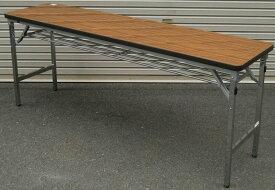 【在庫処分品・新品】 ウチダ 折りたたみテーブルメッキ脚 天板:Nチーク色W1800,D450,H700ミリ(未開封新品)【送料無料】