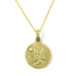 ネックレス ペンダント メンズ レディース ジュエリー アクセサリー ダイアモンド K10YG ゴールド コイン エムズコレクション ユニセックス ペア プレゼント ギフト シンプル メイドインジャ