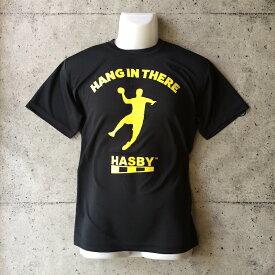 HASBY ハンドボールTシャツ ドライシルキー hang in there ブラック 黒 basketball handball t-shirts ハスビー color black