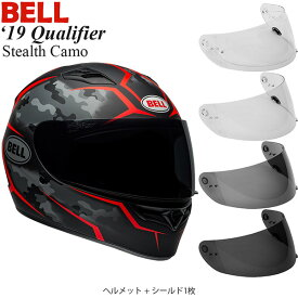 BELL 2点セット Qualifier 2019年 モデル Stealth Camo Red ヘルメット & シールド