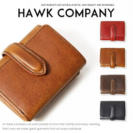 【Hawk Company ホークカンパニー】 財布 サイフ 折りたたみ イタリアンレザー 本革 リアルレザー 小物 グッズ メンズ men's レディース lady's プレゼント ギフト 彼氏 彼女 男性 女性 3427