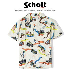 【schott ショット】 アロハシャツ ハワイアンシャツ 半袖シャツ 総柄 ニューヨーク 観光地 メンズ men's インポート ブランド 海外ブランド 3195025-01