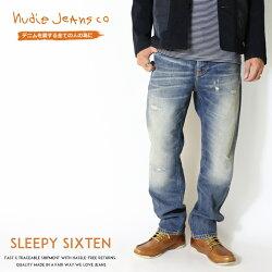 【nudiejeansヌーディージーンズ】SleepySixtenスリーピーシクステンリラックスストレートクラッシュリペアmen'sメンズインポートブランド海外ブランド50161-1161-N052