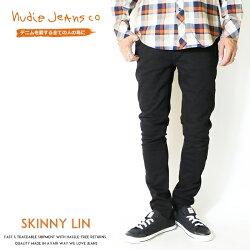【nudiejeansヌーディージーンズ】SKINNYLINスキニーリンジーンズスリムタイトブラック黒メンズインポートブランドSKINNYLIN-N99252161-1012