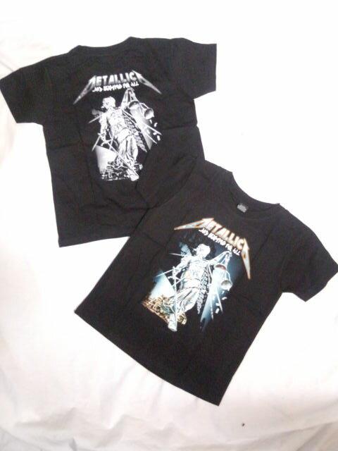 KIDS ロックTシャツ METALLICA(メタリカ) AND JUSTICE FOR ALL 2-4 4-6 6-8 8-10 10-12)/黒/ブラック/バンドTシャツ/ロックTシャツ/バンT/子供服/ヘビーメタル