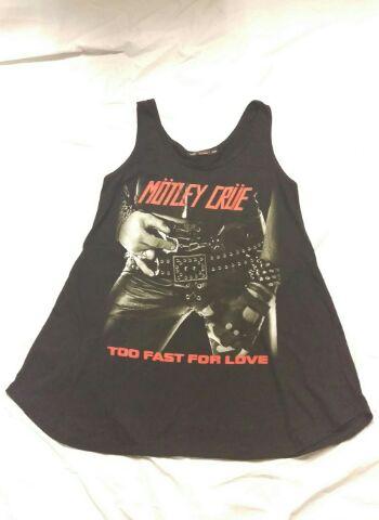 レディース ロック系 ロングカットソー MOTLEY CRUE(モトリークルー)TOO FAST FOR LOVE  FREE ブラック /ロック系/KERA系/ショートワンピ/ロックTシャツ/バンドTシャツ