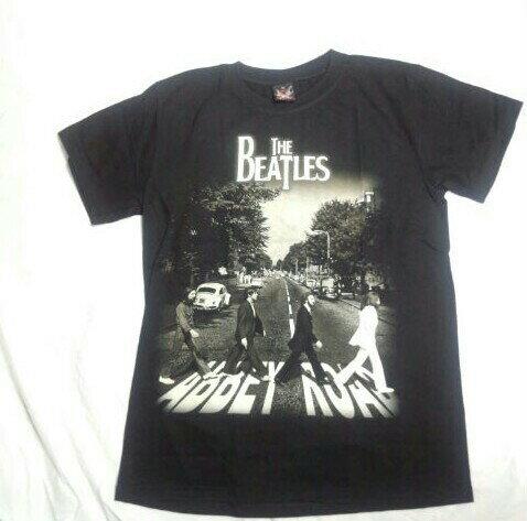 ロックTシャツ BEATLES(ビートルズ) Abbey Road アビイロード S M L XL 黒 /バンT/バンドT/ブラック