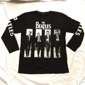 ロックTシャツ BEATLES(ビートルズ) 長袖 S M L XL 黒/バンドTシャツ/ロンT