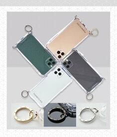 国内正規品 PHONECKLACE iPhone12/12Pro 6.1インチ ストラップ取り付け用リング付きクリアケース ゴールドチャーム PC20438i12P PC20439i12P PC20440i12P