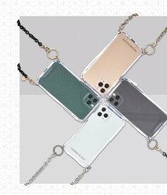 国内正規品 PHONECKLACE iPhone12/12Pro 6.1インチ チェーンショルダーストラップ付きクリアケース PC20429i12P PC20430i12P PC20431i12P