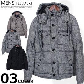 《クリアランス》メンズ 中綿ジャケット アウター コート ウール混 ツイード 防寒 M L XL 黒 無地 紳士 mens「84605」