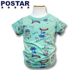 POSTAR ポスター 地図柄 半袖Tシャツ 男の子 ボーイズ 女の子 ガールズ ベビー アメカジ キッズ 子供服 Tシャツ 半袖 プリント 「1421-17」