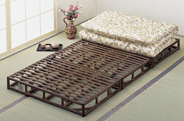 【送料無料】(おすすめ品)籐(ラタン) 三ツ折たたみ式スノコベッドブラウンY-913B(250712)ノンヘッドタイプ(プレゼント最適品) bed rattan【IE】