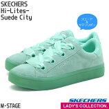 【スケッチャーズ】ウィメンズハイライツ-SuedeCityアクアレディースローカットスニーカーSKECHERSHi-Lites-SuedeCity緑スエードサテンシューレースリボン