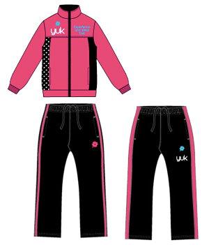 YUKユックジャージ上下ジュニアキッズ女の子(セットアップオリジナルドットスポーツウェアトレーニングウェア子供服運動会ピンクブラックサックスネイビー)