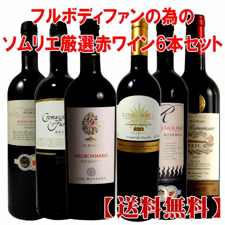 ソムリエ厳選!フルボディーファンの為の赤ワイン6本セット! ワイン 金賞 金賞ワイン セット ワインセット 赤ワインセット 38871