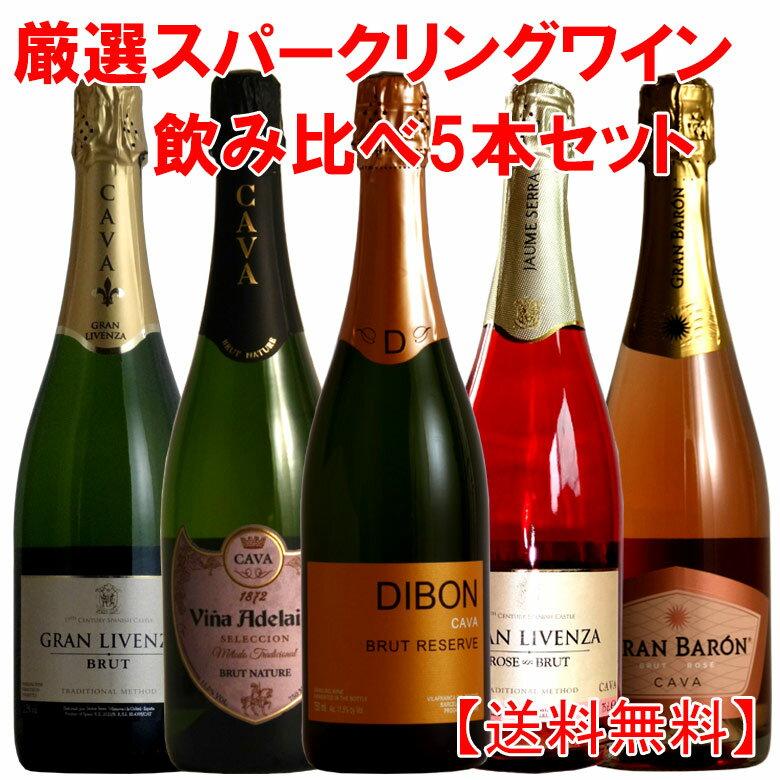 ロゼ2本入りの全てシャンパン製法 スペインカヴァ5本セット 送料無料 ワイン ワインセット wine 【あす楽】