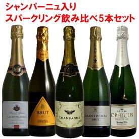 豪華ラインアップ!全て自然による二次発酵の泡!スパークリング 白 5本セット! ワイン セット wine【送料無料】