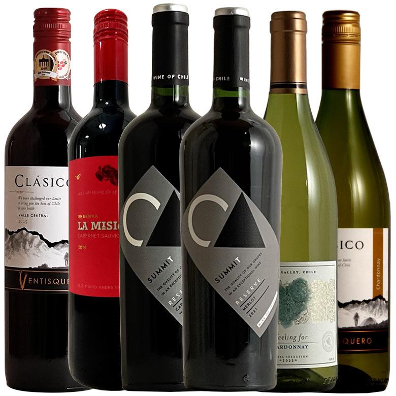 リーズナブルチリ!名門生産者によるコスパ対決6本セット! ヨーロッパ主要葡萄品種が格安で絶対満足を味わえる! ワイン ワインセット wine