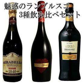 魅惑のランブルスコ飲み比べ イタリア発泡性赤3本セット ギフト 750ML 父の日