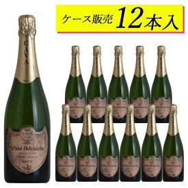 【ケース販売12本】ヴィーニャ・アデライダ・ブリュット 日本に届いた状態のカートンのままお届けしますスペイン 白ワイン スパークリング ギフト 御歳暮 750ML
