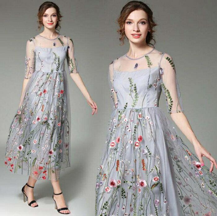 パーティードレス ミモレ丈 花柄刺繍ワンピース 20代 30代 40代 袖あり