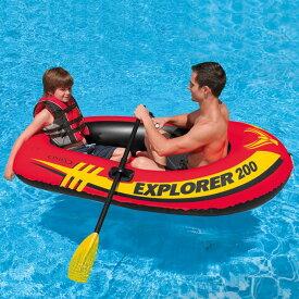 ゴムボート エクスプローラ 200 SET オール1組 ポンプ付 2人乗り 空気入れ 海水浴 プール 川遊び INTEX インテックス【送料無料】INT KNS