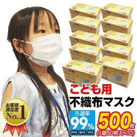 マスク 小さめ 500枚 子供用 オメガプリーツ 3層構造フィルター 使い捨てマスク 不織布マスク 小顔用 小さめサイズ プリーツ ホワイト 花粉 ほこり こども用マスク【送料無料】