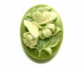 バタフライグリーンティー2.5x1.8[cam-195]【カメオ・アクリルカメオ・アクセサリーパーツ・ビーズ】