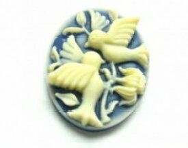 小鳥達ネイビー 2.6x2.0cm[cam-048]【カメオ・アクリルカメオ・アクセサリーパーツ・ビーズ】