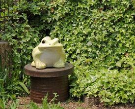 信楽焼 黄 カエル 置物 10号 [名入れ 対応※有料] 陶器 かわいい かえる 大きい 蛙 おしゃれ グッズ 玄関 雑貨 字入れ可 庭 巨大 ギフト 信楽焼き 焼き物 やきもの (MR9039-23Y)