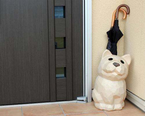 【ポイント10倍】【送料無料※北海道,沖縄は半額】信楽焼 陶器 白犬の傘立て (MR9159-02G)いぬ・イヌ/(おしゃれな傘たて 傘立) ギフト/傘立/信楽焼き/焼き物/やきもの