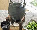 信楽焼 ラジウム 焼酎サーバー 黒 ライン [一升・1.8L] 陶器 おしゃれ 焼酎 お酒 水瓶 ウォーターサーバー ドリンクサ…