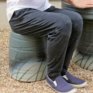 【ポイント10倍】信楽焼 ガーデンチェア 紫苑 うらは草 アンティーク スツール おしゃれ 花台にも 北欧 イス チェア 椅子 園芸用 ギフト 陶器 信楽焼き 焼き物 やきもの(MA129-04G)