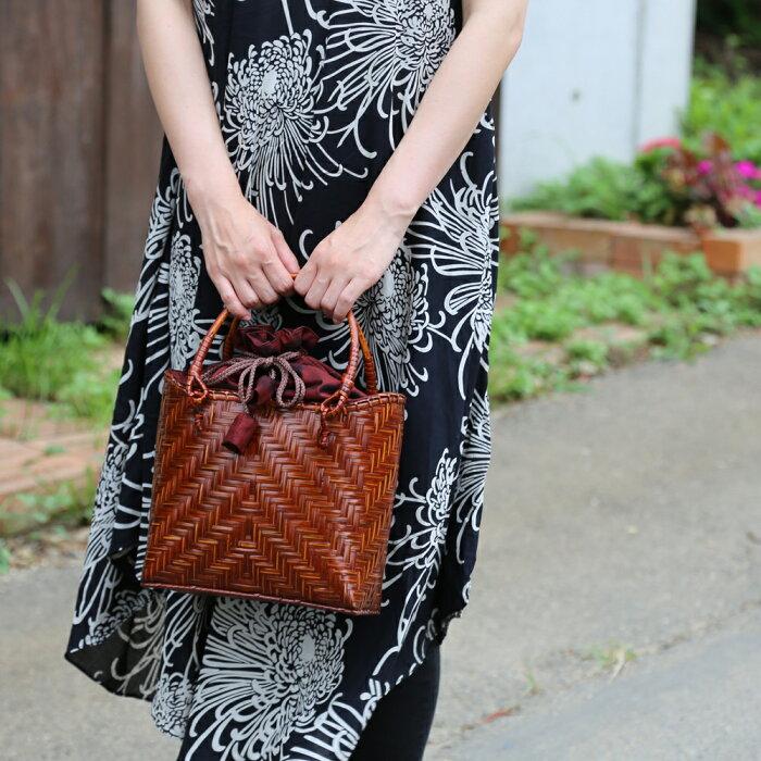 バンブーキンチャクMサイズかごバッグストローバッグ竹バンブーレディース鞄雑貨エコバッグ手提げ婦人用レジャー夏ストローバッグアジアン天然素材