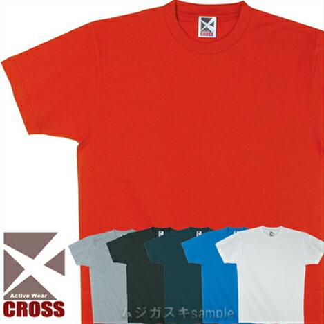 CROSSレギュラーコットンTシャツ/白/赤/青/黒/紺【3001102】