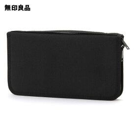 【無印良品 公式】ポリエステルパスポートケース・クリアポケット付 黒・約23.5×13×2.5cm
