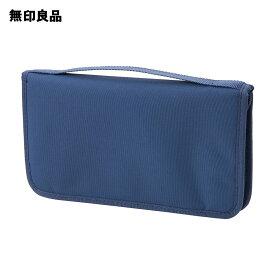 【無印良品 公式】ポリエステルパスポートケース・クリアポケット付 ネイビー・約23.5×13×2.5