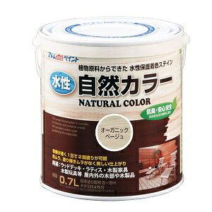 アトムハウスペイント(自然塗料/速乾/ステイン)水性自然カラー(天然油脂ステイン)0.7L オーガニックベージュ